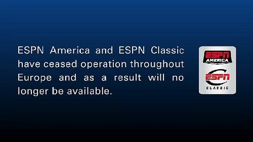 Kanály ESPN upozorňují, že došlo k ukončení jejich distribuce v Evropě