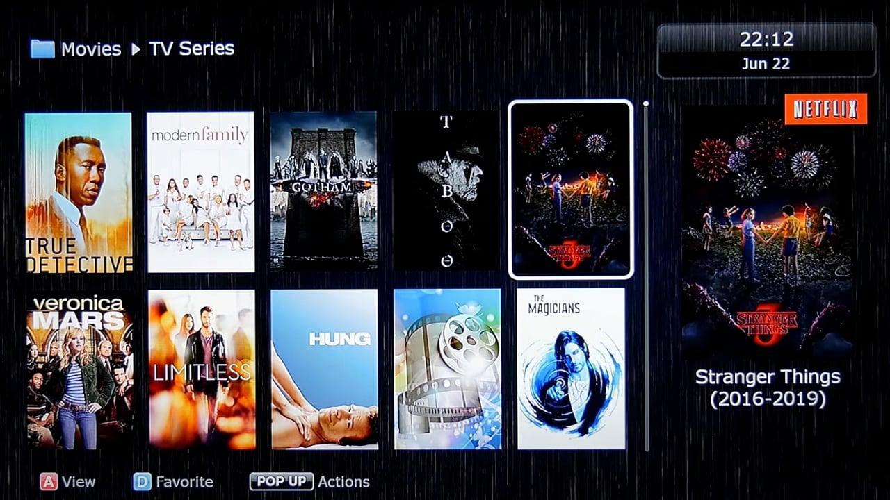 Uživatelské rozhraní Dune HD – katalog multimédií – seriály