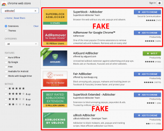 Falešné blokovače reklam v Chrome Store