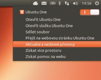 Synchronizační menu - zatím pouze s Ubuntu One
