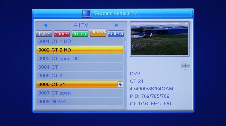Fuba ODE8510 T2 Stealth - seznam stanic a info