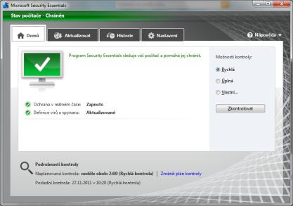 Microsoft Security Essentials vás ochrání před škodlivým softwarem