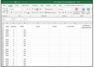 Hlavičky sloupců v listu Excelu