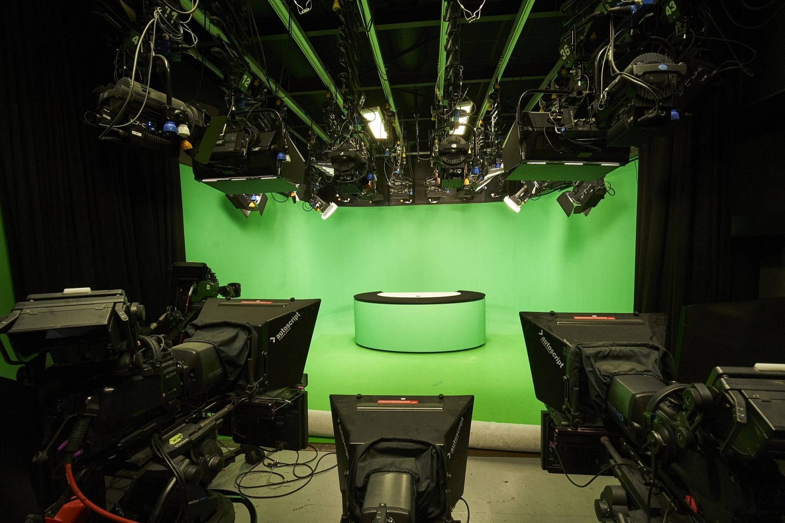 Náhradní studio zpravodajství TV Nova s klíčovací plochou