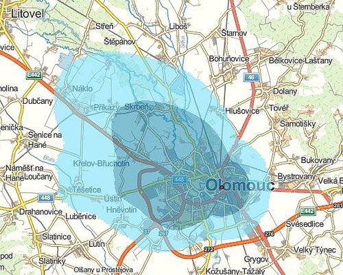 Předpokládané pokrytí signálem digitálního rozhlasu v Olomouci.