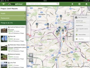 TripAdvisor nabízí přehled o všech důležitých místech ve vašem okolí