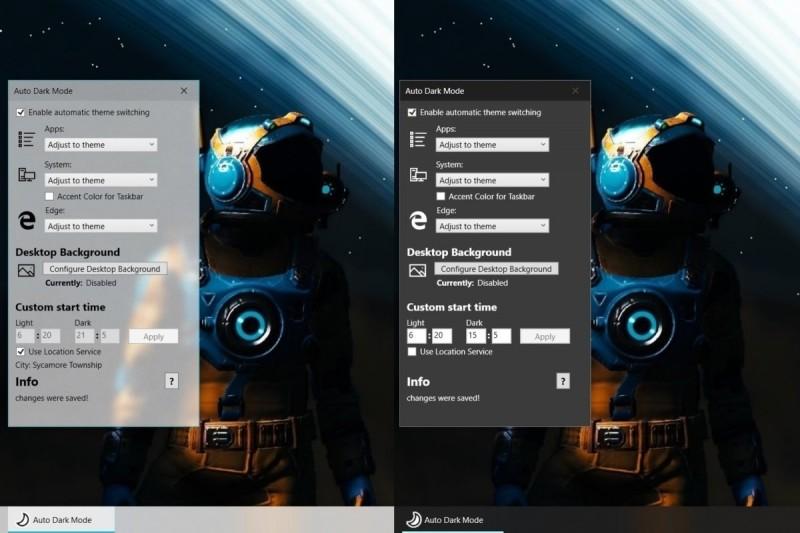 Aplikace Auto Dark Mode dokáže ve Windows 10 přepnout mezi světlým a tmavým motivem na základě aktuálního času