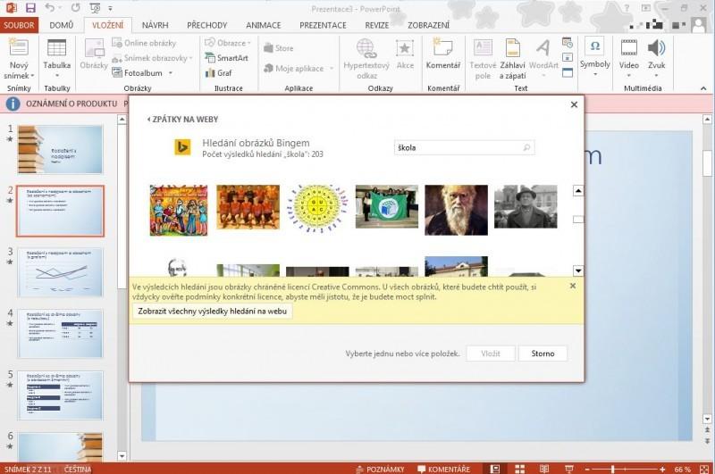 Při standardním nastavení jsou všechny obrázky licencovány pro vaše použití pod licenčními schématy Creative Commons