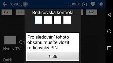 Hustler TV CZ přes Wi-Fi. Je nutno zadat rodičovský PIN.