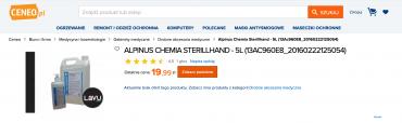 Běžná cena desinfekce SterillHand od polského výrobce Alpinus Chemia je do 20 PLN za 5l balení. (6. 3. 2020)
