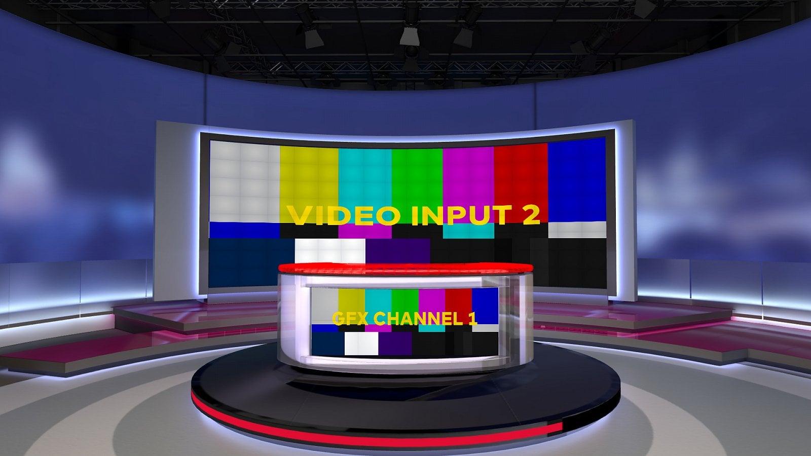 Televizní noviny a Střepiny v 3D modelu klíčovaného studia