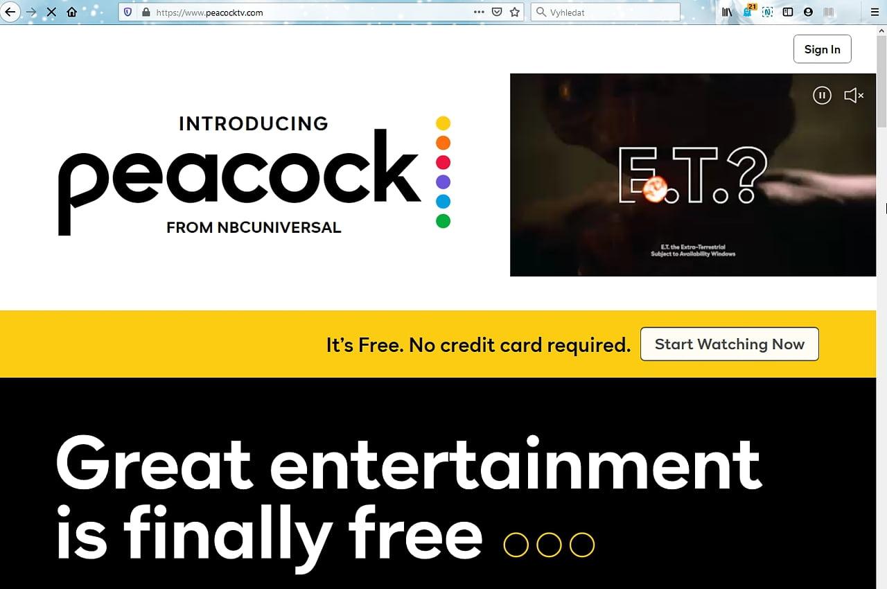 Peacock: Registrace a nastavení