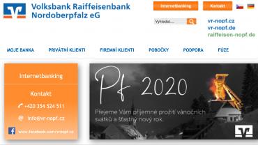 Vánoční přání Volksbank Raiffeisenbank Nordoberpfalz v roce 2019.
