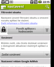 Android Market - filtry
