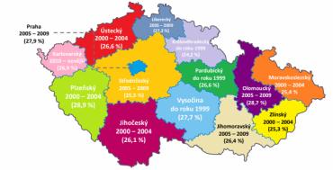 Nejčastější stáří vozu podle krajů v ČR.
