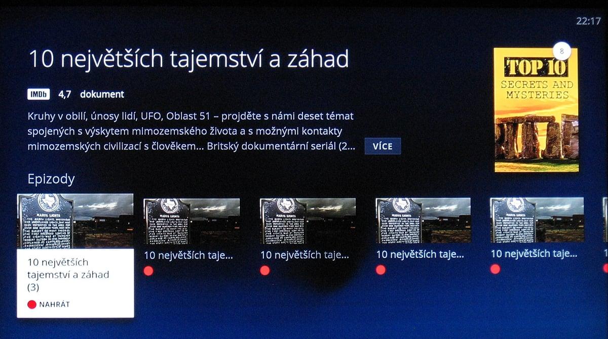 NG box O2 TV – nahrávky