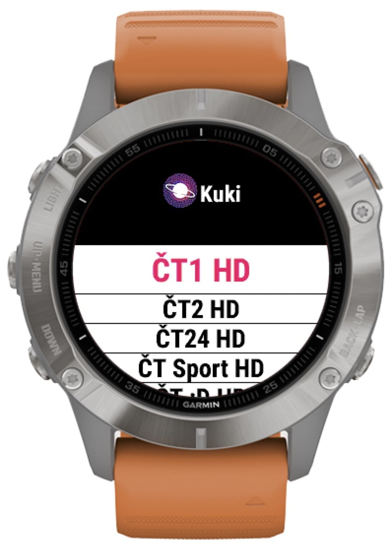 Aplikace Kuki TV na hodinkách Garmin