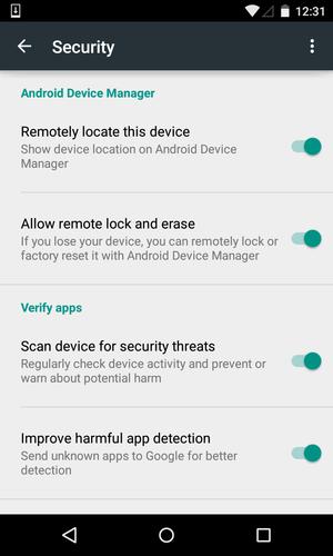 Možnosti Správce zařízení pro Android na mobilním telefonu