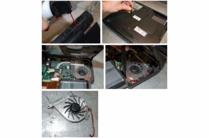 Do mřížek foukejte stlačený vzduch. Otevřete skříň notebooku a odstraňte všechen prach a nečistoty, které blokují činnost větráčku. Pozorně vyndejte starý větráček
