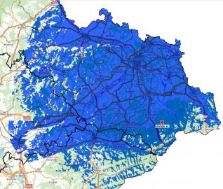 Mapa pokrytí: Multiplex 24 z vysílače Lysá hora