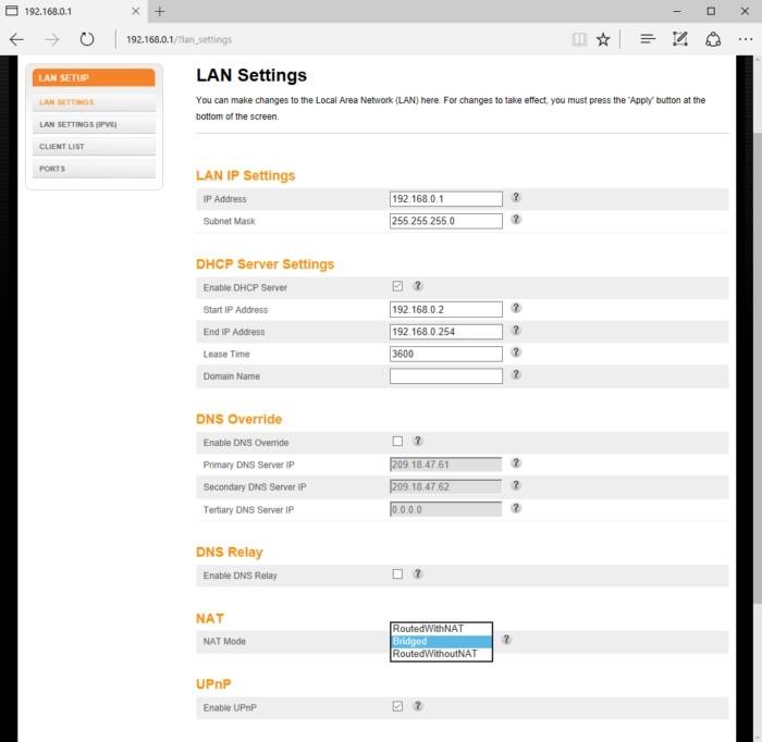 Tato internetová brána obsahuje možnosti nastavení pro službu NAT v nastavení pro místní síť LAN. U zařízení jiných výrobců se příslušné volby mohou nacházet klidně v sekci pro síť WAN, popřípadě v úplně jiné sekci