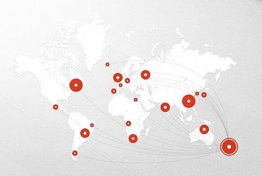 Na mapě jsou zřejmě zobrazeny lokality, kde Mega Limited využívá datacentra.