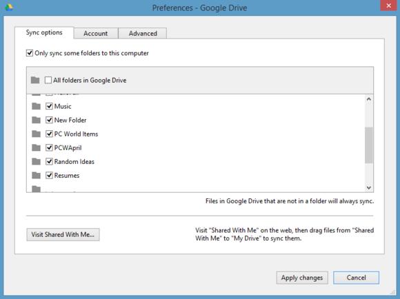 Google Drive vám umožňuje vybrat, které složky chcete synchronizovat s cloudovým úložištěm