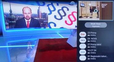 Režim Multi View (k dispozici jsou zdvojené tunery) vyvoláte pohodlně přes tlačítko dálkového ovladače. Funkčně byl ale náhled na dva nezávislé TV kanály hodně omezen.