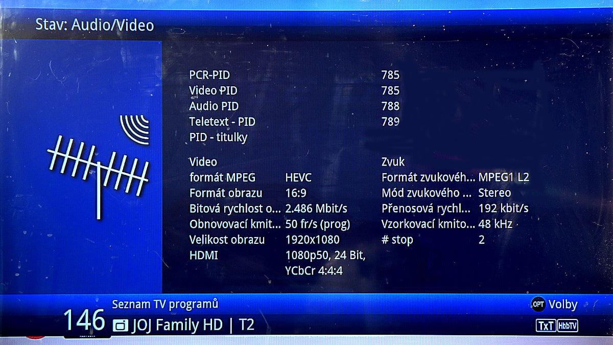 Vysílání Joj family HD v DVB-T2