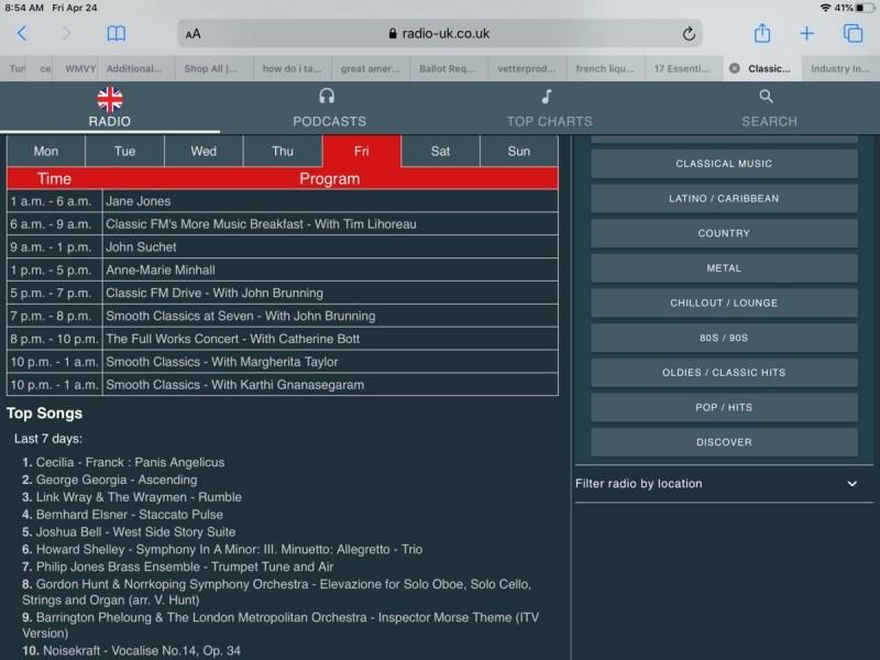 Aplikace Radio-uk nabízí celou řadu užitečných informací týkajících se přehrávaného obsahu