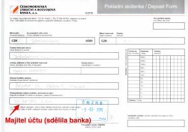 Českomoravská záruční a rozvojová banka majitele sdělila před vkladem a vkladatel jej ručně dopsal.