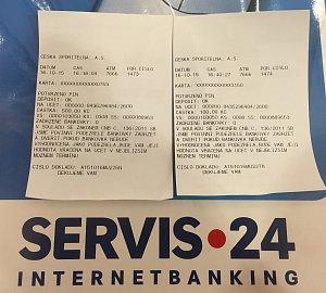 Pokladní doklad z vkladomatu České spořitelny o provedení vkladu hotovosti na účet do Citibank.