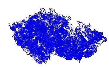 Mapa pokrytí signálem technologie LTE na konci roku 2014. Obrázek lze zvětšit.