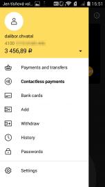 """Po aktivaci karty se zobrazí v menu nová záložka """"bezkontaktní platby""""."""