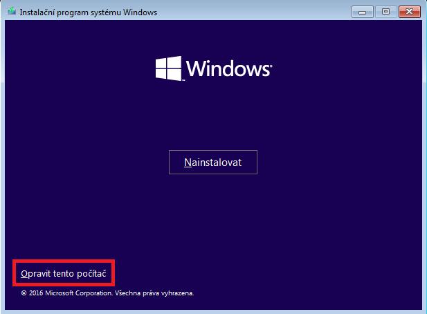 Instalační disk Windows 10 může posloužit i jako disk pro opravu systému