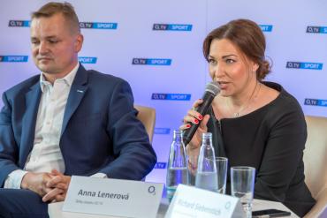 Anna Lenerová a šéf O2 TV Sport Marek Kindernay.