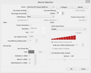 Možnosti zařízení pro zachytávání videa v aplikaci OBS
