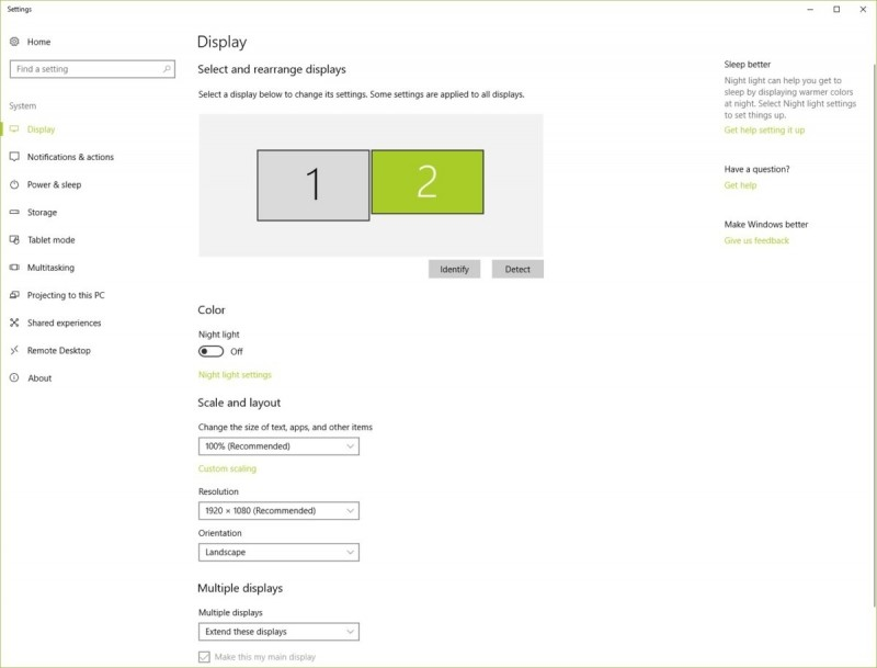 Nastavení zobrazení ve Windows 10: Po stisku tlačítka Identifikovat, které se nachází pod obrázkem, si budete moci uspořádat jednotlivé monitory.