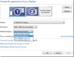 Windows 8: Když v této nabídce vyberete možnost Rozšířit zobrazení, budou se dva monitory chovat jako jeden velký monitor.