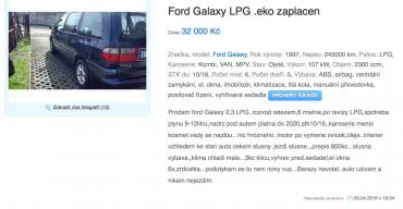 Ford Mondeo, Avízo.cz, inzerentem soukromá osoba, stočené kilometry