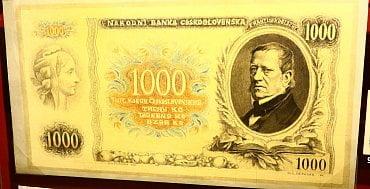 Originální návrh zadní strany 1000 Kč bankovky od Maxe Švabinského z roku 1934.