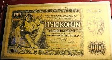 Originální návrh přední strany 1000 Kč bankovky od Maxe Švabinského z roku 1934.