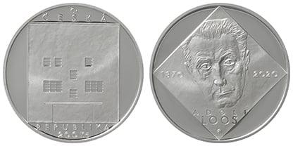 Pamětní 200Kč stříbrná mince ke 150. výročí narození Adolfa Loose. V prodeji od 2. 12. 2020.