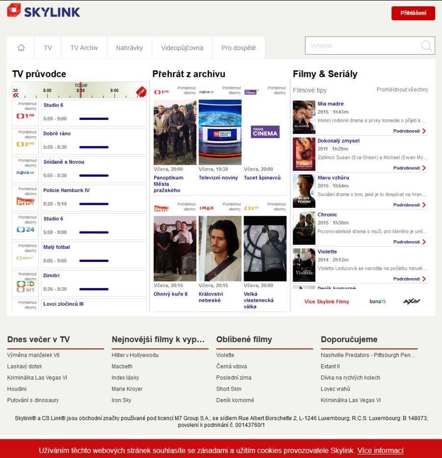 b253054c4 Webové rozhraní služby Skylink Live TV prošlo, po změně visuální podoby  značky, redesignem.