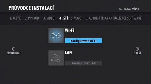 Na výběr je buďto připojení prostřednictvím Wifi nebo LAN kabelu