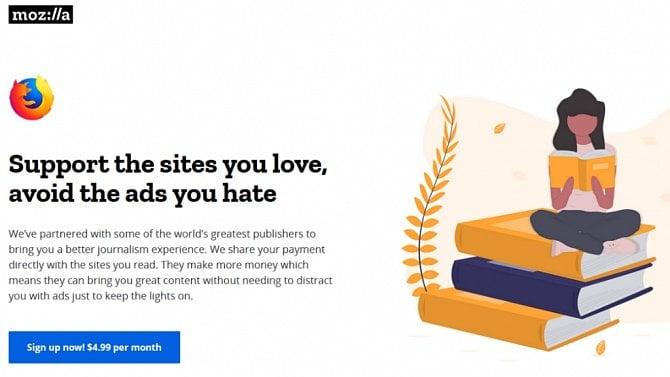 [aktualita] Mozilla testuje odstranění reklam z webů online médií za předplatné