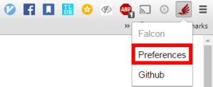 Přidání webu do black-listu se provádí přes volbu Preferences, která se zobrazí po klepnutí na ikonu rozšíření Falcon