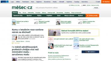 Stávající podoba hlavní stránky Měšce je od roku 2009 neměnná.