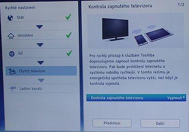 Tzv. kontrola zapnutého televizoru je standardně vypnutá, protože má několikanásobně vyšší spotřebu v pohotovostním režimu. Pokud ji ale povolíte, všechny funkce televizoru naběhnou prakticky okamžitě.