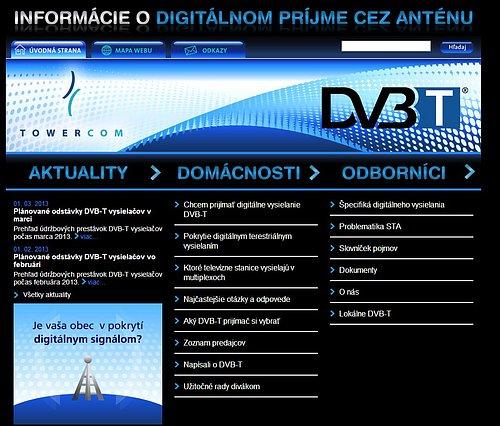 Původní podoba webu dvb-t.towercom.sk